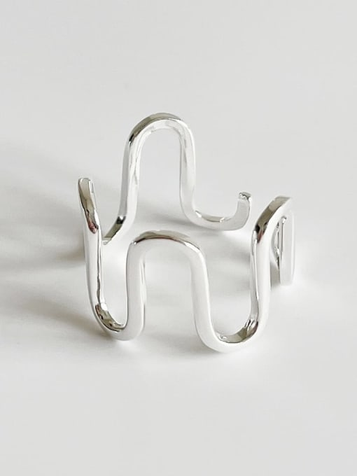 J1604 wave ring 2.1g 925 Sterling Silver Irregular Minimalist Band Ring
