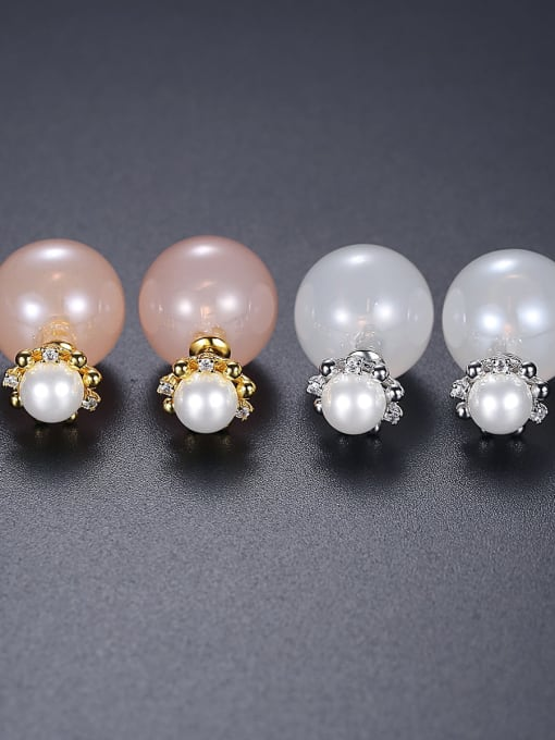 BLING SU Copper Imitation Pearl Round Minimalist Stud Earring 2
