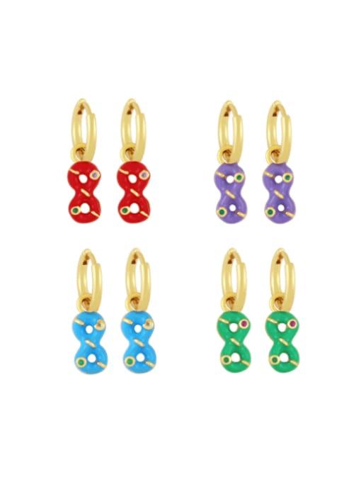 CC Brass Rhinestone Enamel Number 8 Trend Huggie Earring