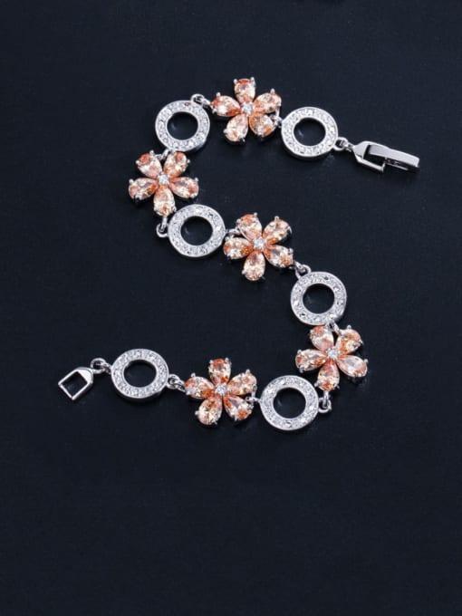 L.WIN Brass Cubic Zirconia Flower Luxury Bracelet 0