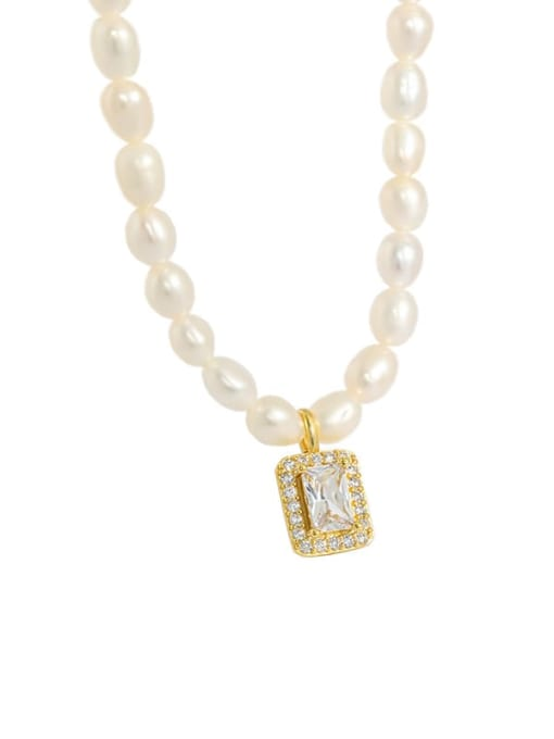 golden 925 Sterling Silver Freshwater Pearl Geometric Minimalist Necklace
