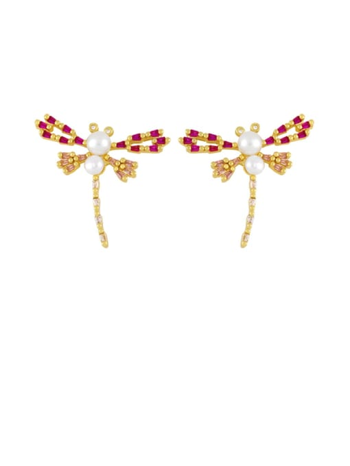 gold Brass Cubic Zirconia Dragonfly Hip Hop Stud Earring