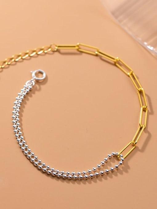 Rosh 925 Sterling Silver Asymmetric Smooth Bead Geometric Minimalist  Bracelet 1