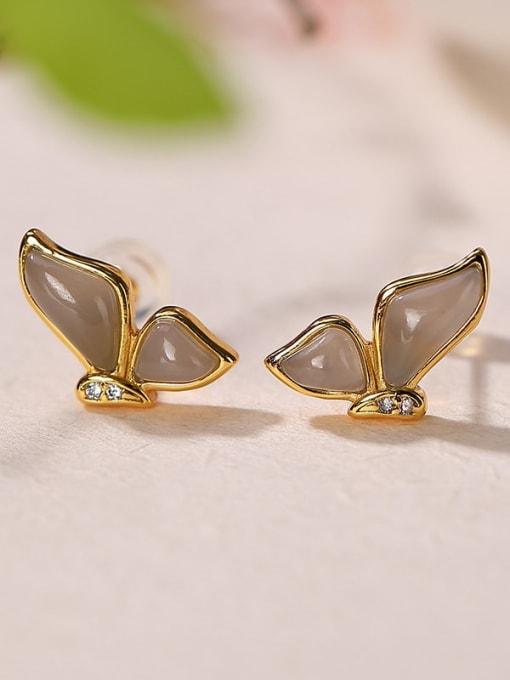 DEER 925 Sterling Silver Jade Butterfly Vintage Stud Earring 2