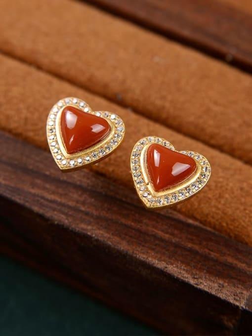 DEER 925 Sterling Silver Carnelian Heart Vintage Stud Earring