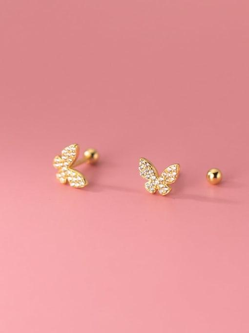 Rosh 925 Sterling Silver Cubic Zirconia Butterfly Minimalist Stud Earring