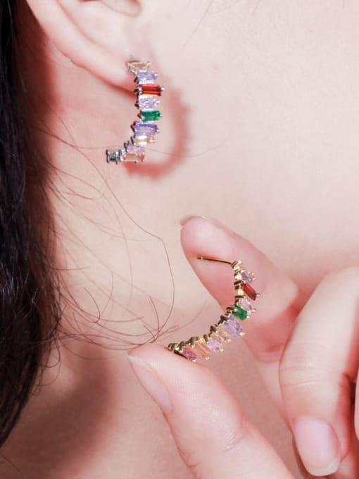 L.WIN Brass Cubic Zirconia Geometric Luxury Stud Earring 2