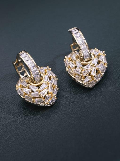 Luxu Brass Cubic Zirconia Heart Minimalist Drop Earring