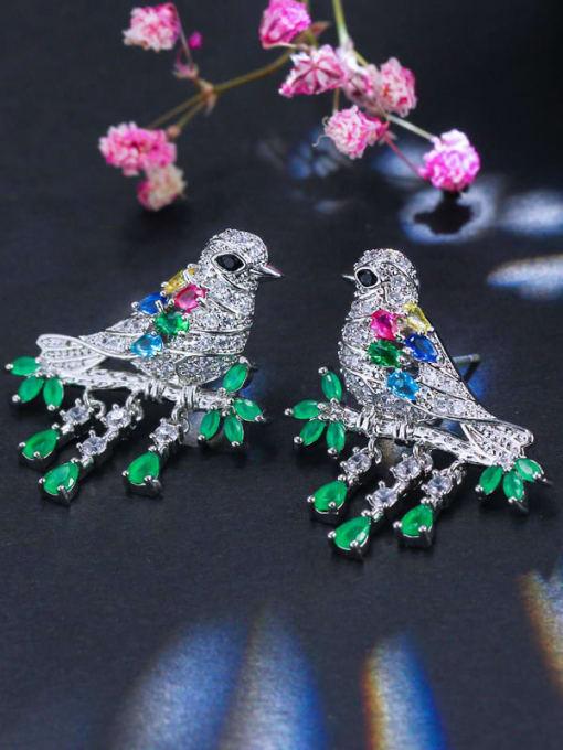 L.WIN Brass Cubic Zirconia Bird Luxury Stud Earring 1