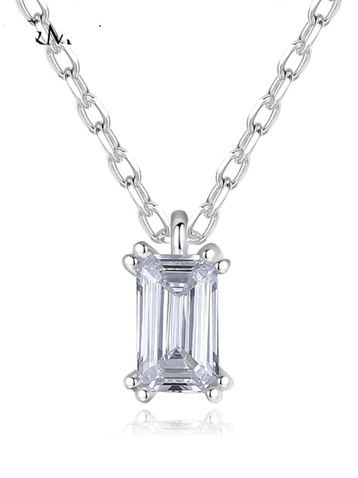 CCUI 925 Sterling Silver Cubic Zirconia Geometric Minimalist  pendant Necklace