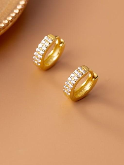 gold 925 Sterling Silver Cubic Zirconia Geometric Dainty Cluster Earring