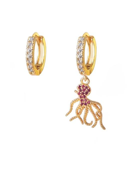 DUDU Brass Cubic Zirconia Octopus Vintage Huggie Earring