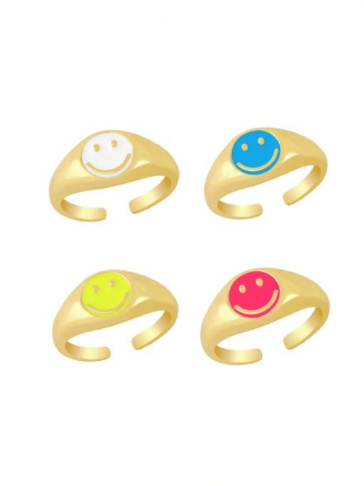 CC Brass Enamel Smiley Hip Hop Band Ring 0