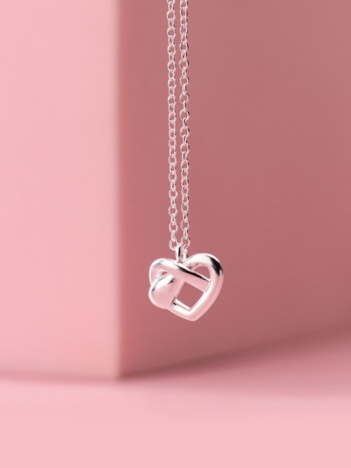Rosh 925 Sterling Silver  Hollow Heart Minimalist Pendant Necklace 1