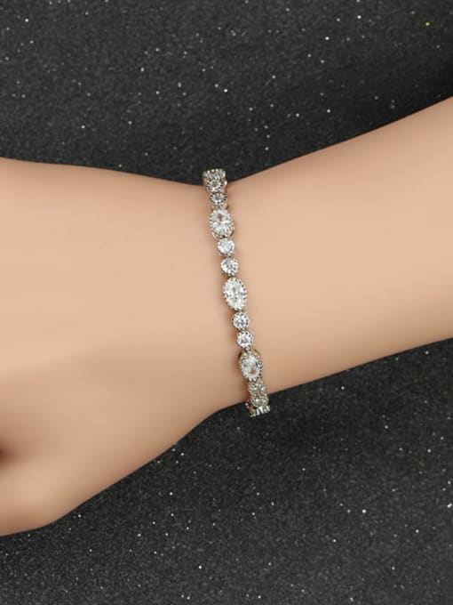 L.WIN Brass Cubic Zirconia Oval Dainty Adjustable Bracelet 2