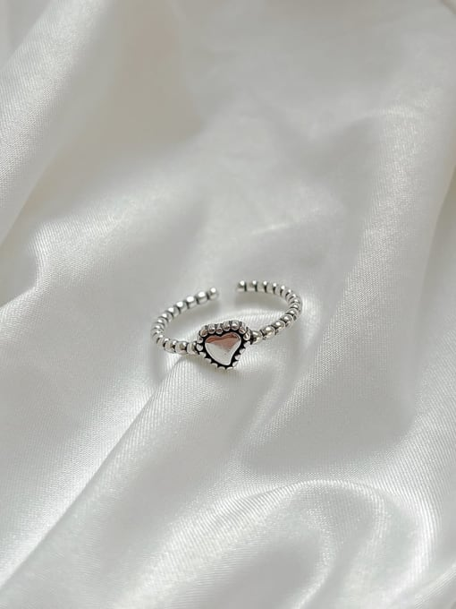 Boomer Cat 925 Sterling Silver Heart Vintage Band Ring 0