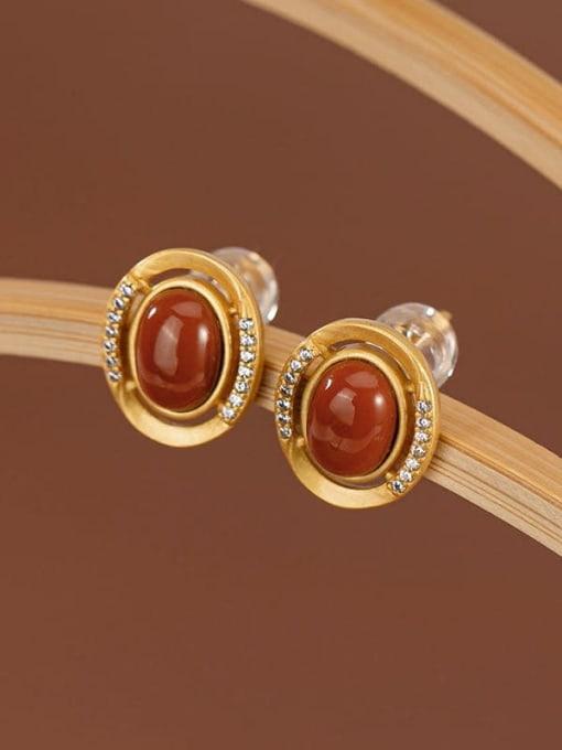 Red (a pair) 925 Sterling Silver Jade Oval Vintage Stud Earring