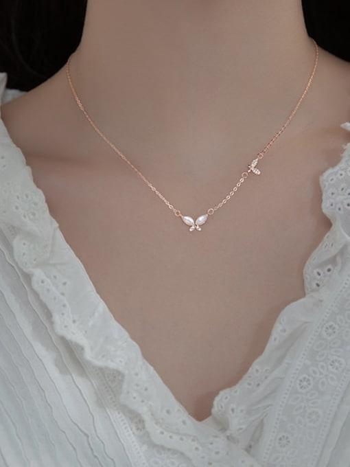Rosh 925 Sterling Silver Shell Leaf Minimalist Necklace 3