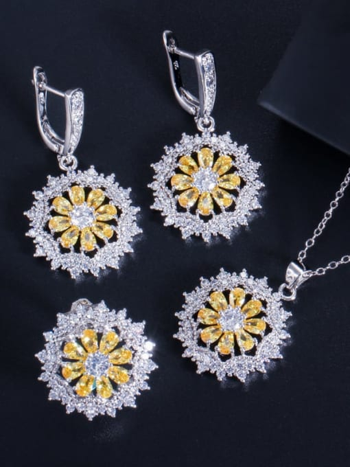 Yellow ring size 7 Dainty Flower Brass Cubic Zirconia Earring Ring and Necklace Set