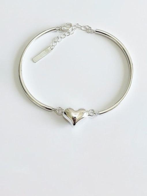 Boomer Cat 925 Sterling Silver Heart Minimalist Adjustable Bracelet 2