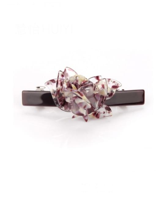 Colorful purple Cellulose Acetate Minimalist Flower Zinc Alloy spring Hair Barrette