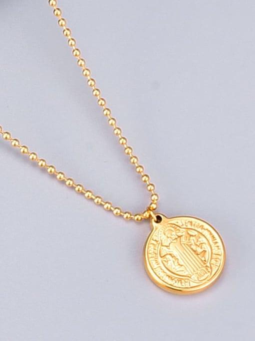 A TEEM Titanium Round Minimalist  Double-sided pattern Necklace 2