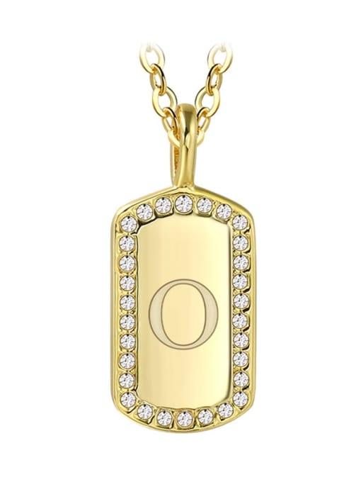 Gold letter O Brass Rhinestone Letter Minimalist Necklace