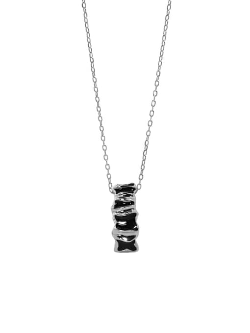 Platinum 925 Sterling Silver Cubic Zirconia Geometric Vintage Necklace