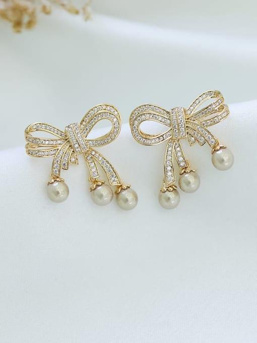Luxu Brass Cubic Zirconia Bowknot Trend Stud Earring 0