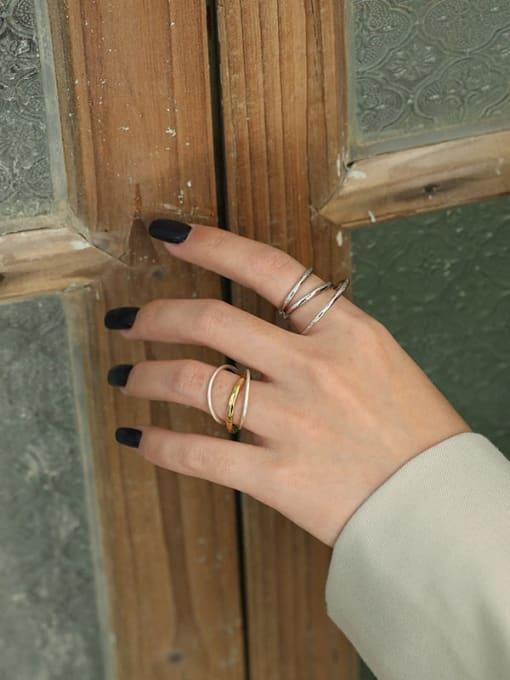 DAKA 925 Sterling Silver Irregular Vintage Stackable Ring 1