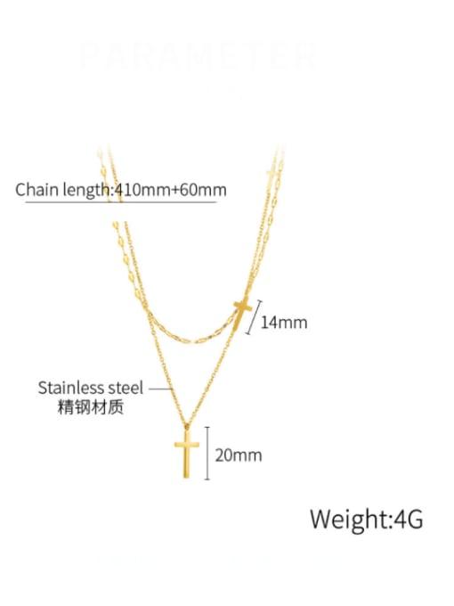 Open Sky Titanium Steel Cross Minimalist Multi Strand Necklace 3