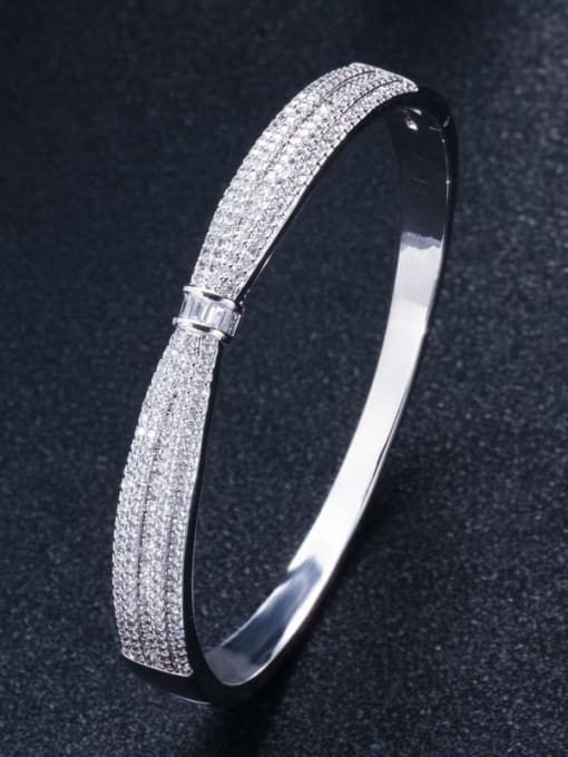 platinum Brass Cubic Zirconia Butterfly Classic Band Bangle
