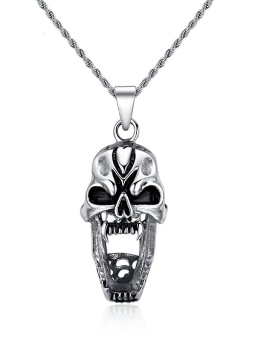 CONG Stainless steel Skull Hip Hop Necklace 0