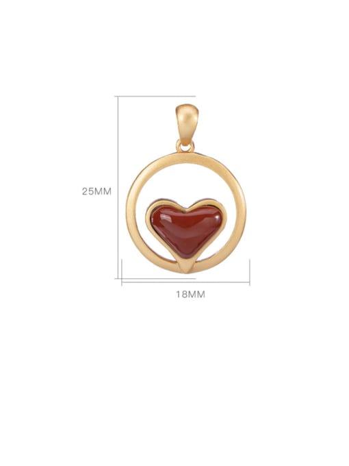 DEER 925 Sterling Silver Carnelian Vintage Heart Pendant 3