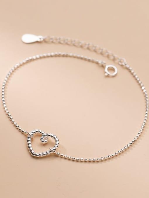 Rosh 925 Sterling Silver Hollow Heart Minimalist Beaded Bracelet 1