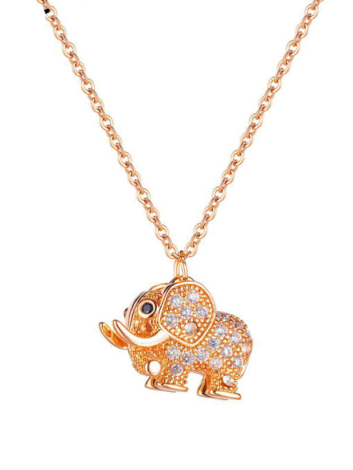 Open Sky Titanium Steel Cubic Zirconia Elephant Vintage Necklace