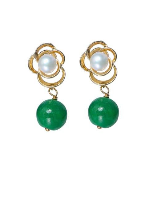 RAIN Brass Imitation Pearl Flower Cute Drop Earring 3