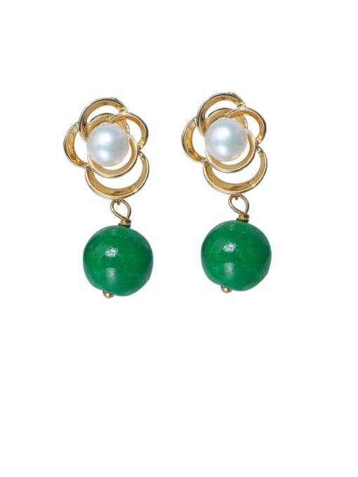 golden Brass Imitation Pearl Flower Cute Drop Earring