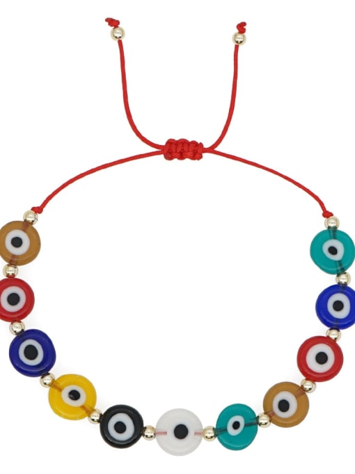 QT B200005A Multi Color Glass Stone  Evil Eye Bohemia Adjustable Bracelet