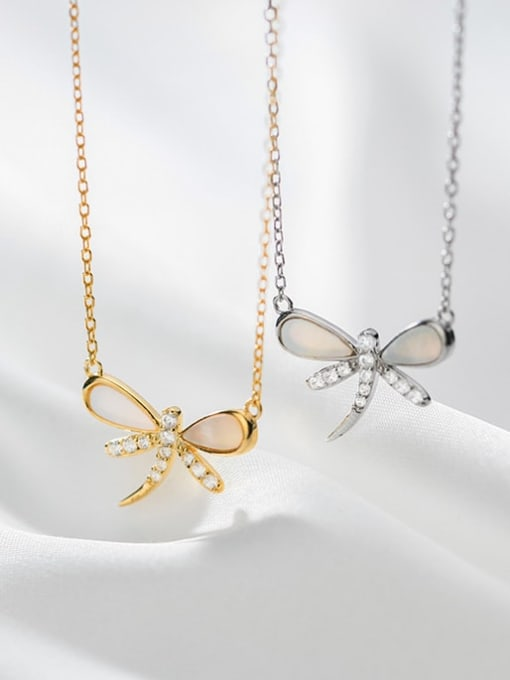 Rosh 925 Sterling Silver Shell Dragonfly Minimalist Necklace