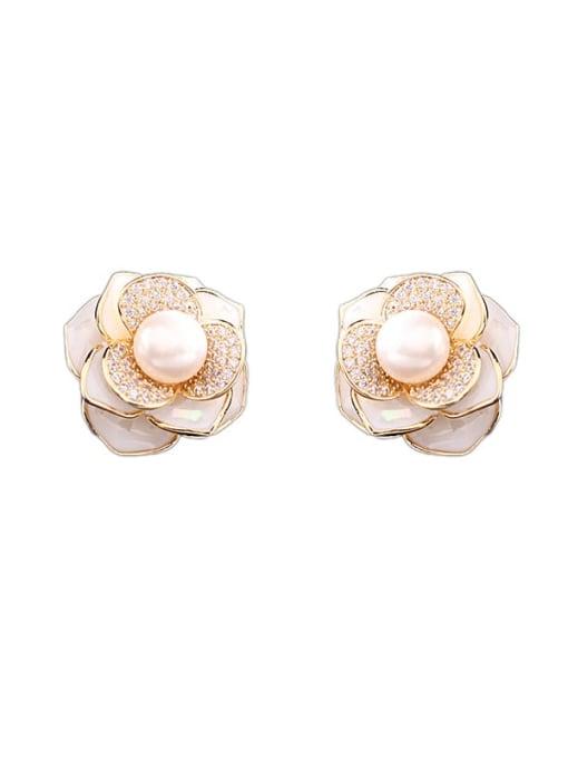 Luxu Brass Cubic Zirconia Shell Flower Artisan Stud Earring 2
