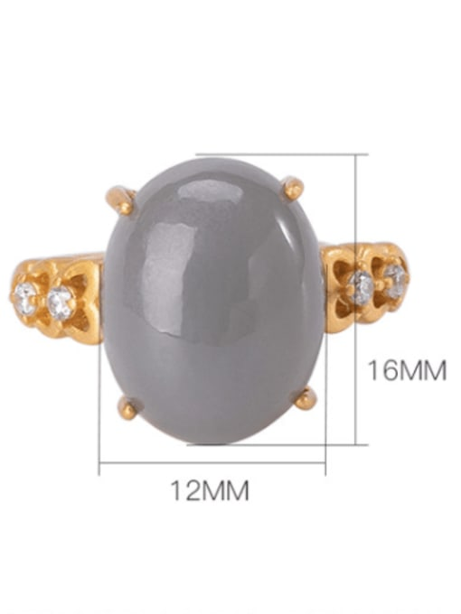 DEER 925 Sterling Silver Jade Oval Vintage Band Ring 4