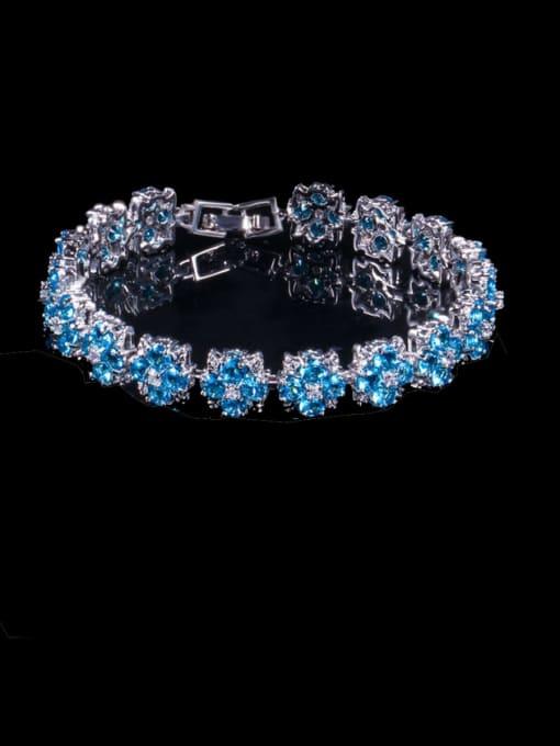 Sea blue Brass Cubic Zirconia Flower Dainty Bracelet