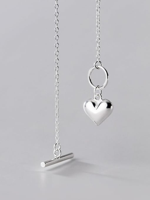 Rosh 925 Sterling Silver Heart Minimalist Lariat Necklace 3