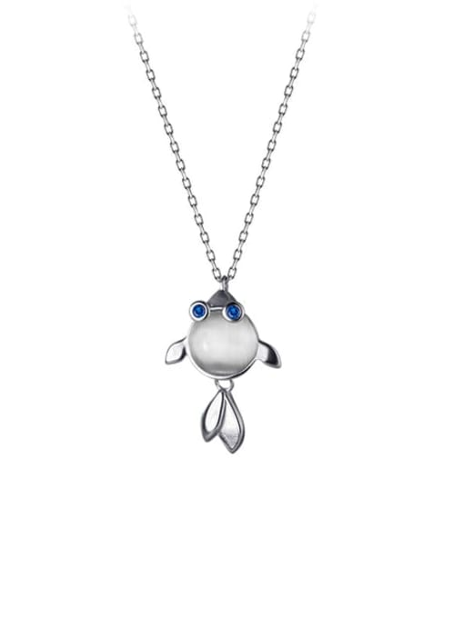Silver 925 Sterling Silver Cats Eye Fish Minimalist Necklace