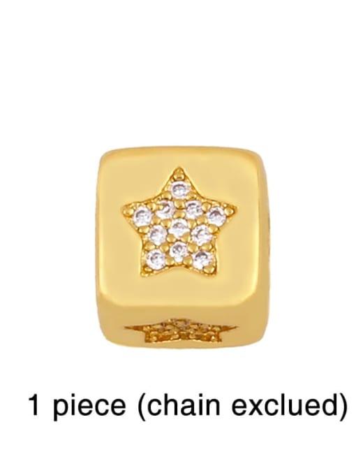 five-pointed star Brass Cubic Zirconia square Letter Minimalist Adjustable Bracelet