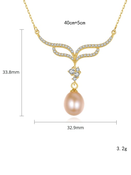 CCUI 925 Sterling Silver Freshwater Pearl Flower Minimalist Necklace 4