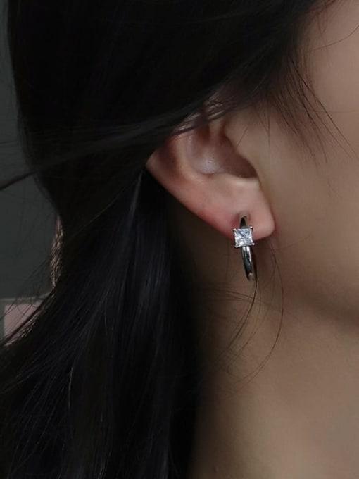 CHARME Brass Cubic Zirconia Geometric Stud Earring 1