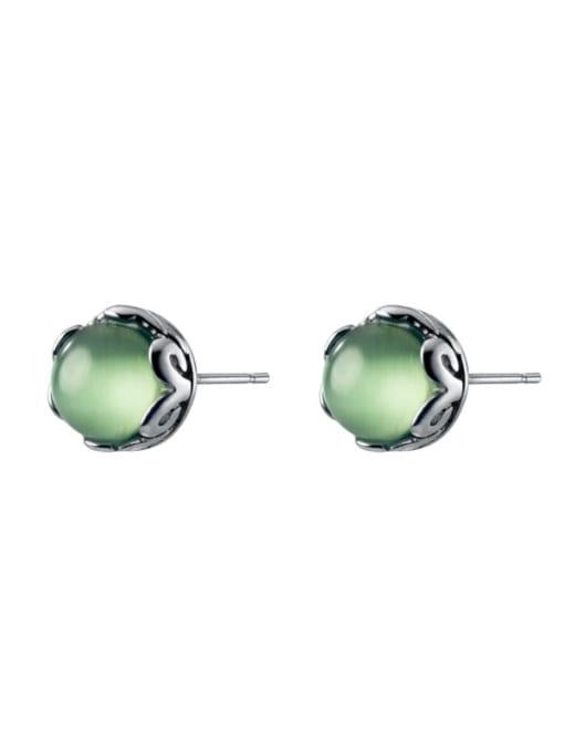 Rosh 925 Sterling Silver Opal Geometric Cute Stud Earring 2