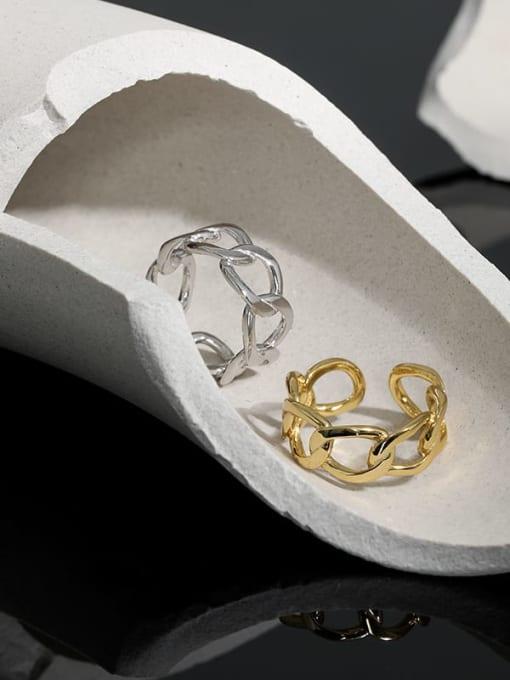 DAKA 925 Sterling Silver Geometric Minimalist Band Ring 1